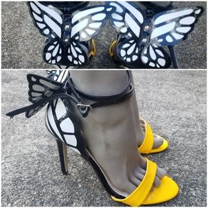 Ankle Strap Butterfly Heels Black Yellow White